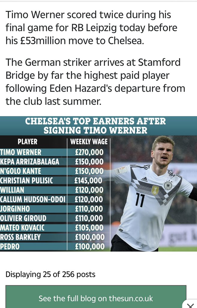 Quite a lot of you are questioning the @ChelseaFC players wages, it was from a article from @TheSun earlier today.