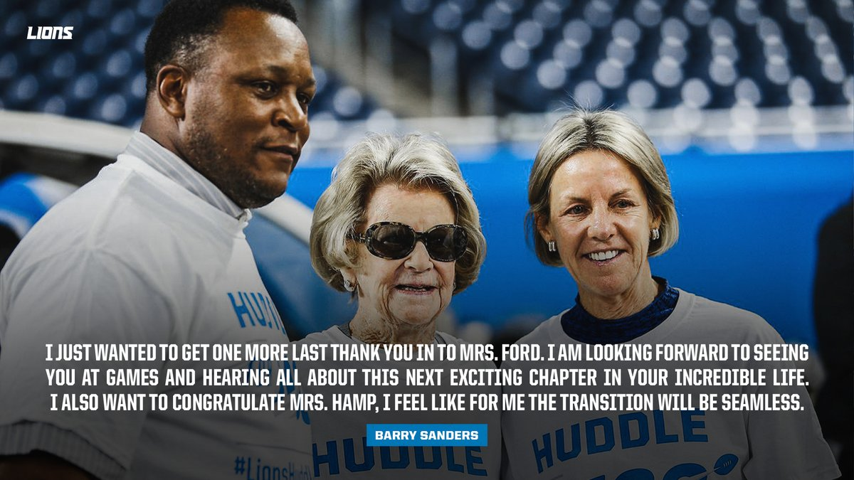 .@BarrySanders: 'I just wanted to get one more last thank you in to Mrs. Ford.'
