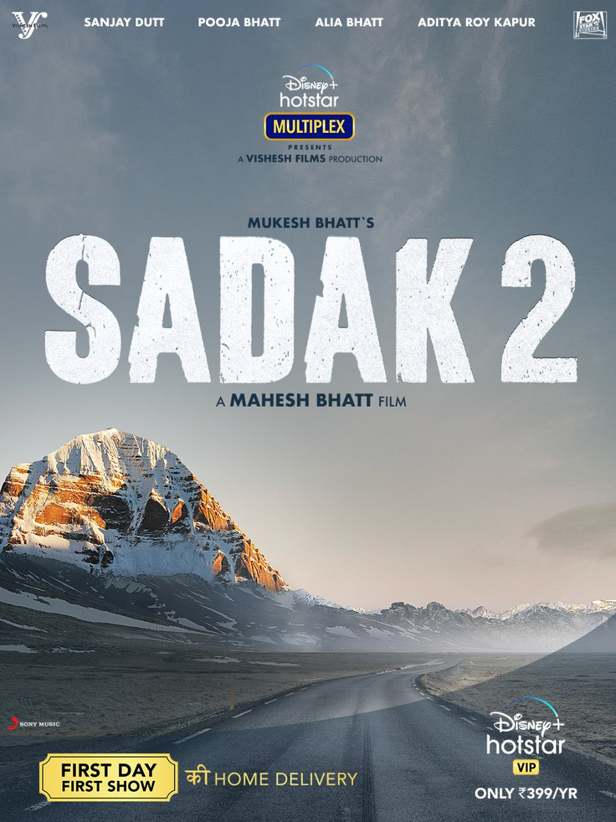 A love story that began 29 yrs ago now journeys towards a new horizon. Sadak2 - The road to love ❤️ Here's presenting our FIRST TEASER POSTER🌞💃🏻 First day First show, from the comfort of your homes! Watch #Sadak2 on @DisneyPlusHSVIP with #DisneyPlusHotstarVIPMultiplex