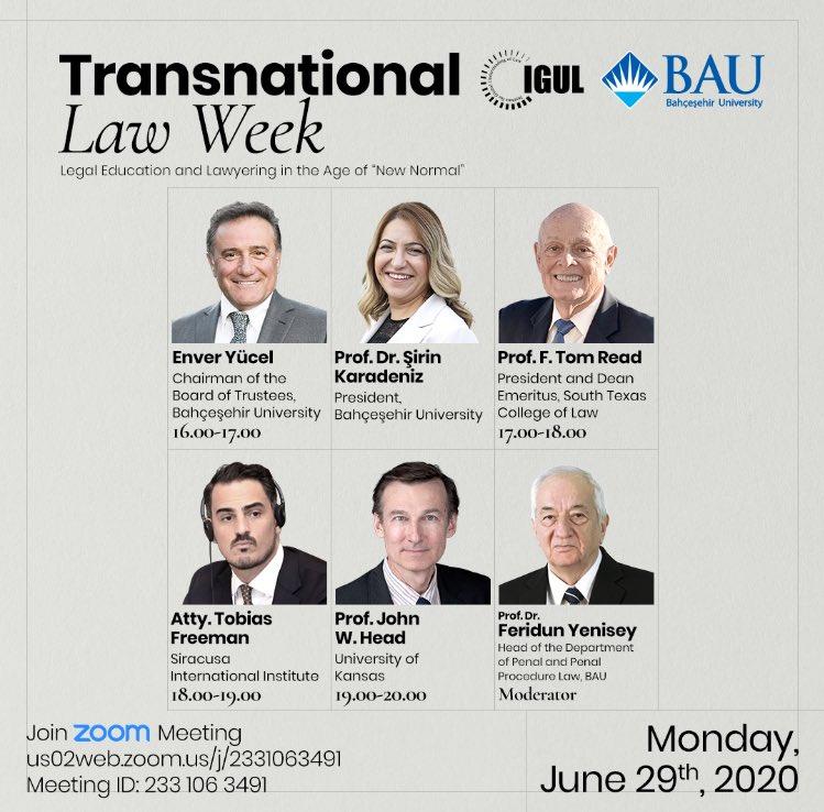 Transnational Law Week başlıyor!  İlk programına BAU Global Başkanı Sayın Enver Yücel ve BAU Rektörü Prof. Dr. Şirin Karadeniz'in konuk olacağı Transnational Law Week, bugün saat 16.00'da başlıyor!  Katılım için: https://t.co/hvWl2nrNtf https://t.co/CFqToarXL3