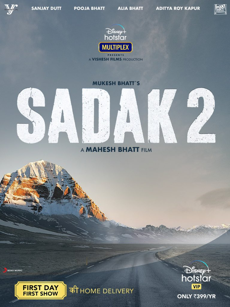 A love story that began 29 years ago now journeys towards a new horizon. Sadak 2 - The road to love. First day First show, from the comfort of your homes! Watch #Sadak2 on @DisneyPlusHSVIP with #DisneyPlusHotstarVIPMultiplex.