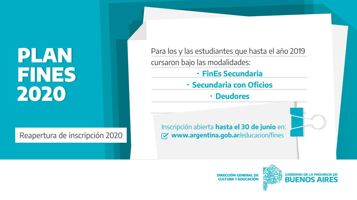 Hasta mañana, 30 de junio, podés inscribirte en el Plan Fines 2020. Es para las modalidades Fines, Deudores y Secundaria con Oficios 📚 Si ya te habías anotado este año, ingresá a https://t.co/iM3euJbFzE para ampliar datos 💻   Más info 👉 https://t.co/1mObiVojMt https://t.co/zgKg7MYHb0