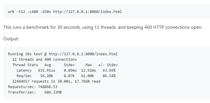 wrk: HTTP benchmarking tool capable of generating significant load when run on a single multi-core CPU. Stable and popular, alternative to ab and rakyll/hey. #WebPerf  https:// github.com/wg/wrk    <br>http://pic.twitter.com/yQJ9IBNhqz