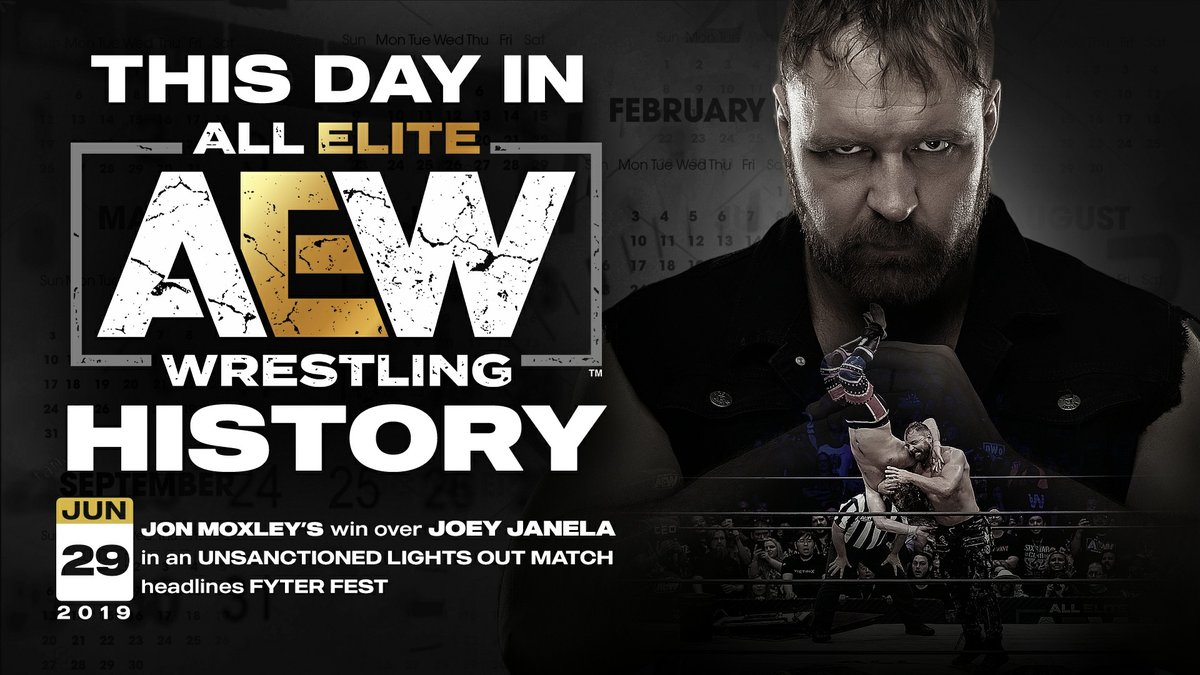 This day in #AEWHistory @JonMoxley gains a victory against @JANELABABY in an unsanctioned lights out match at FyterFest in Daytona Beach, FL.