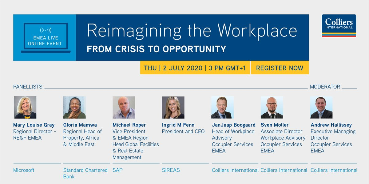 RT @Colliers_EMEA: Join our latest #EMEA #Occupier Live Online Event where we will discuss the results of our global #WorkFromHome survey followed by a panel discussion on the potential impact of COVID-19 on the #FutureOffice - register here: #Workspace #Office #FutureOfWork t.co/zt4SvIZSsd
