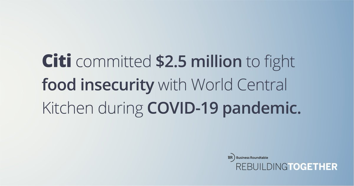 .@Citi committed $2.5M to support @WCKitchen's #ChefsForAmerica relief effort, fighting #foodinsecurity during the #COVID19 pandemic. With this effort, restaurants across the country provided meals to vulnerable communities and #healthcareheroes. https://t.co/yfKWhW9rt0 https://t.co/aQixp3Xiw1