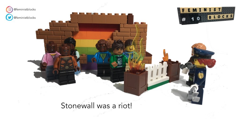 """Feminist Blocks no.10 """"Stonewall was a riot"""".  #Pride  #PrideMonth #LGBTQ #StonewallWasARiot  #Stonewall  #LEGO  #legophotography #legominifigures #feministmemes #queermemespic.twitter.com/4AcGjUGIwv"""