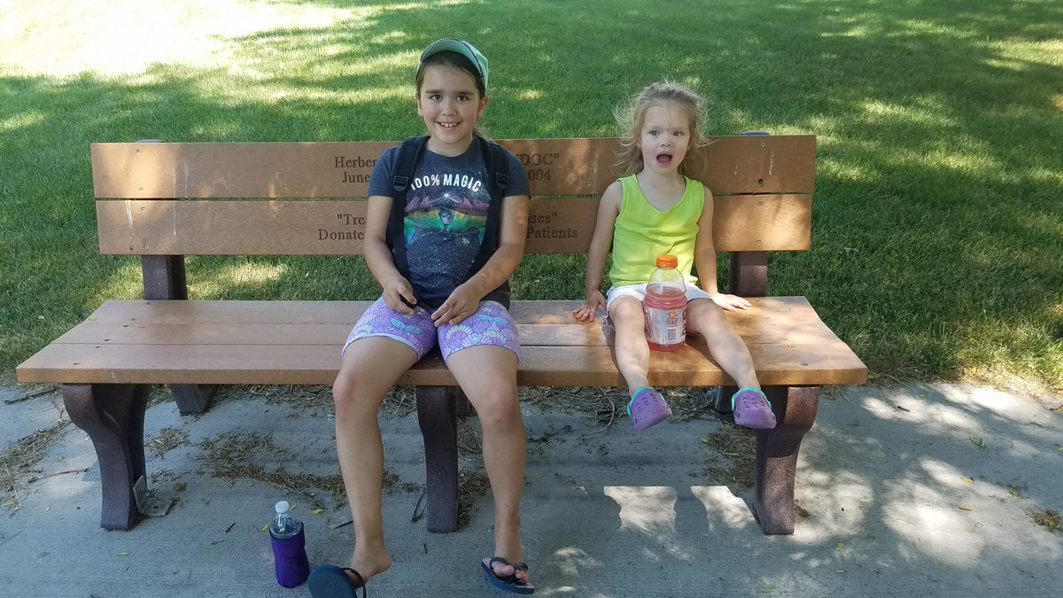 Little bit of fun at the Tridge. Too hot to stay too long. Left got #copsanddonuts and #rallys and staying inside.  #michigram #midlandtridge #MondayFunday #daughters #MIDLANDmi https://t.co/33mQidf454