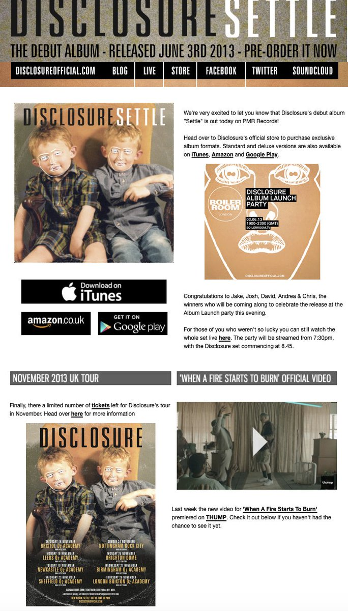 Any day 1 @disclosure fans remember getting this email on June 3rd 2013, the release date of their debut album 'Settle'? #TimsTwitterListeningParty https://t.co/WHVAB69vvx