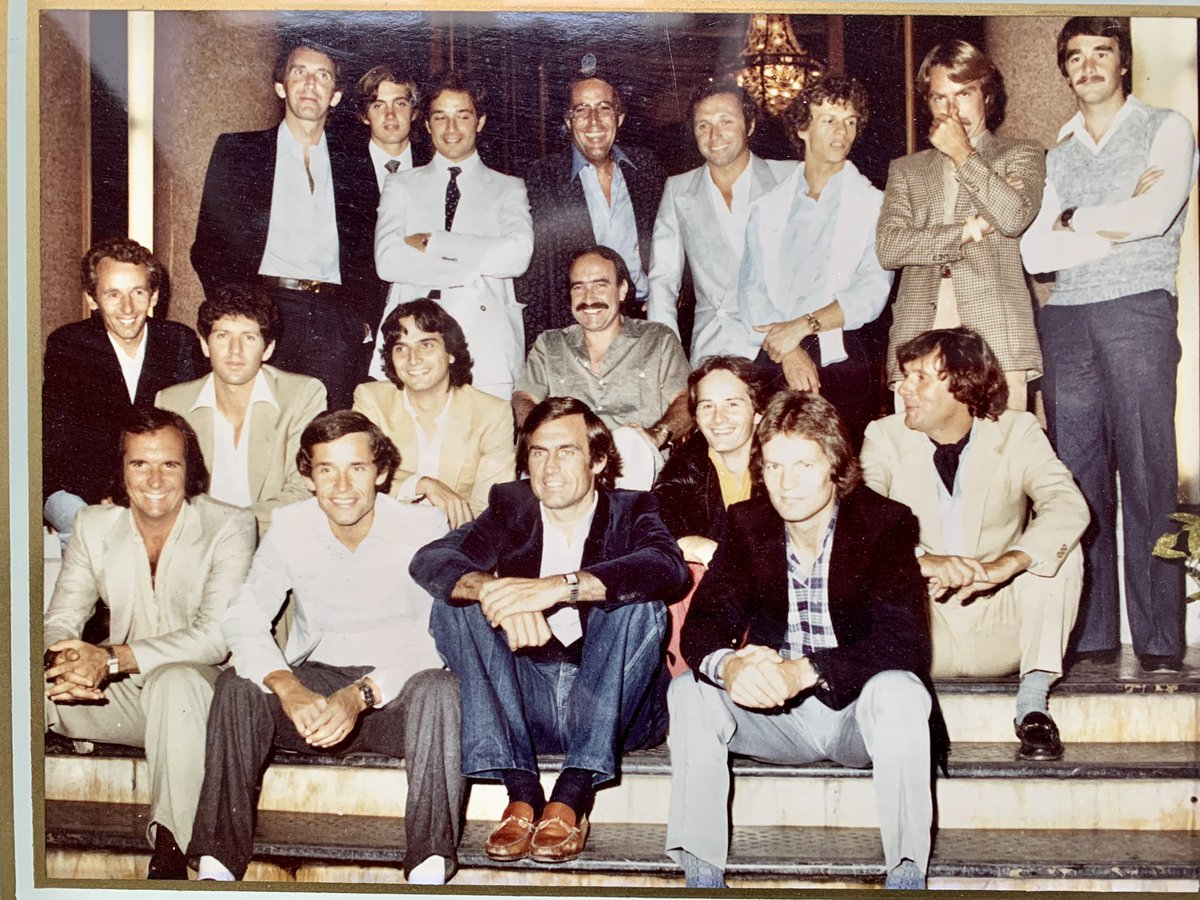 Found this in my old album - checked with a pal in the back row and we think 1981. It's Hotel de Paris before #MonacoGP - I wonder @F1Photo if your Father took it ? I remember it was a lunch ? Who can name them all ? #F1 @YeOldeAutosport