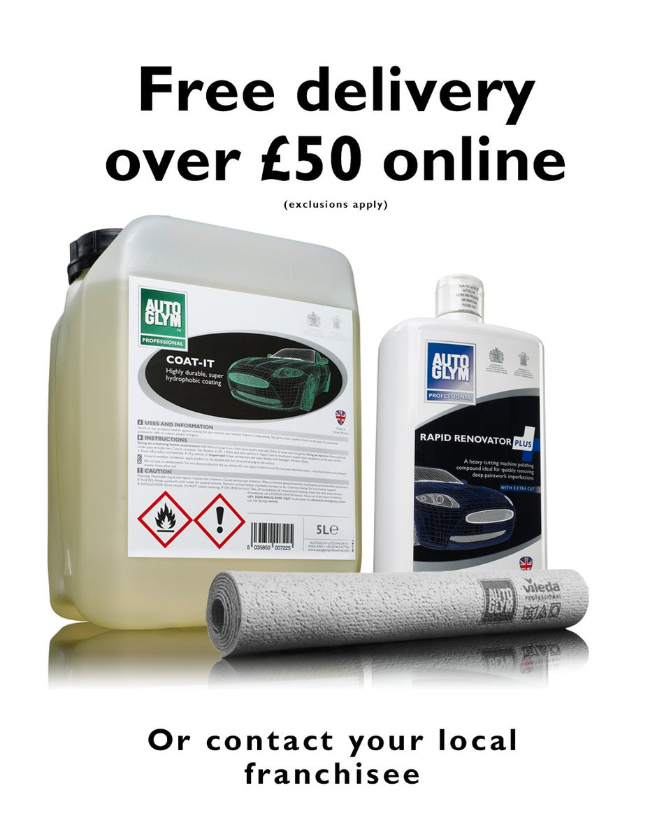 Free delivery on online product orders over £50!*  Head over to https://t.co/YoxO0pomqX or contact your local franchisee📞  *The following are excluded: 5L Screenwash, 5L Screenwash Super Strength, 5L Acid Wheel Cleaner, 5L Hand Sanitiser, all 20L and 25L products. https://t.co/spamYins6W