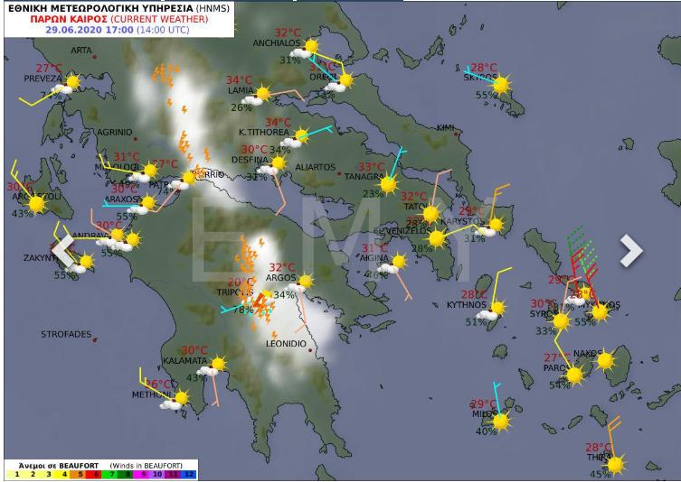 Εχθές η Κόνιτσα , σήμερα η Τρίπολη καταιγίδα . Από μέγιστες θερμοκρασίες μέχρι στιγμής οι 35 με 36 °C @News247gr @Deltiokairou