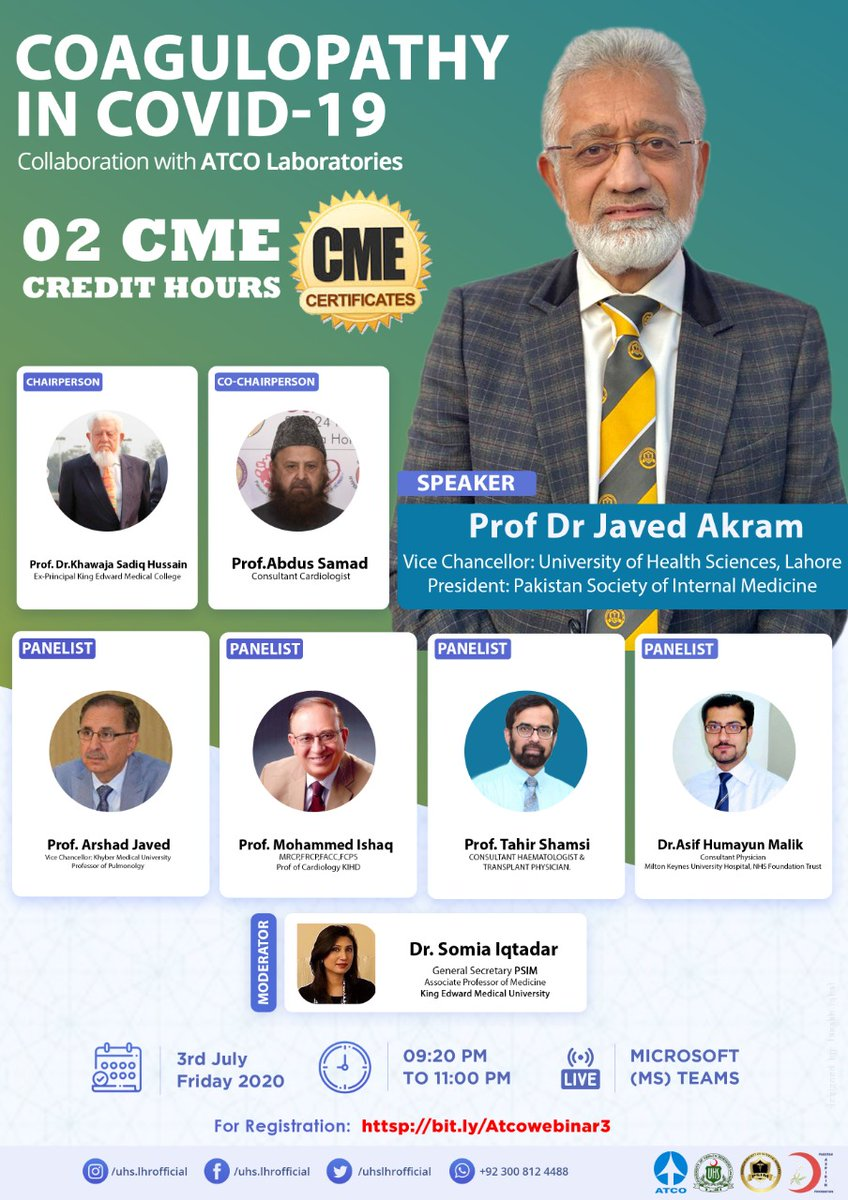 Attendees of this webinar shall be awarded 02 CME Credit Hours. To be a part of this webinar, Kindly click on this link for registration. bit.ly/Atcowebinar3 For more information: 𝗠𝗿. 𝗙𝗮𝗿𝗮𝗸𝗵 𝗜𝗾𝗯𝗮𝗹 (𝟬𝟯𝟬𝟬-𝟴𝟭𝟮𝟰𝟰𝟴𝟴) 𝗘𝗺𝗮𝗶𝗹 𝘀𝗺𝗰@𝘂𝗵𝘀.𝗲𝗱𝘂.𝗽𝗸.