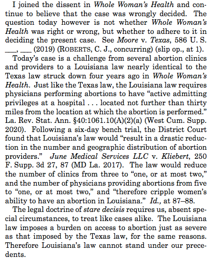 Roberts joins the four liberals. He says Whole Womens Health, the 2016 case about a near word-for-word similar abortion law in Texas, controls this case—even though Roberts continues to think Whole Womens Health was wrongly decided.