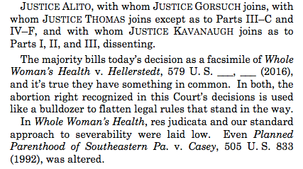 Thomas, Alito, Gorsuch, and Kavanaugh all filed separate dissents. Heres Alitos opener:
