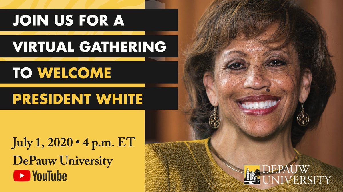 Please join us this Wednesday as we mark Dr. Lori S. White's first day as president of DePauw University. https://t.co/Ap0ACxvswU  In the meantime, Dr. White wants to hear from you. What do you love about DePauw? What do you hope for our future? Share your thoughts below. https://t.co/3f8Eu4EnAJ