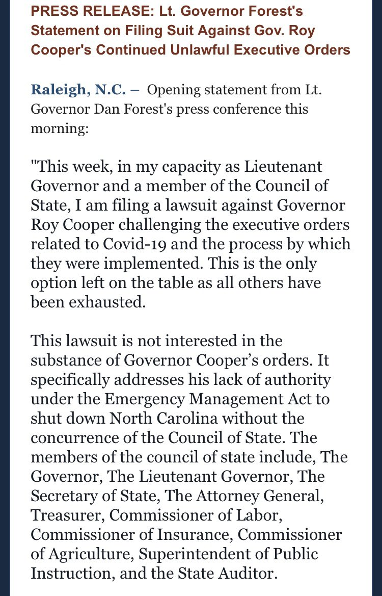PRESS RELEASE: Lt. Governor Forests Statement on Filing Suit Against Gov. Roy Coopers Continued Unlawful Executive Orders #ncpol #ncga