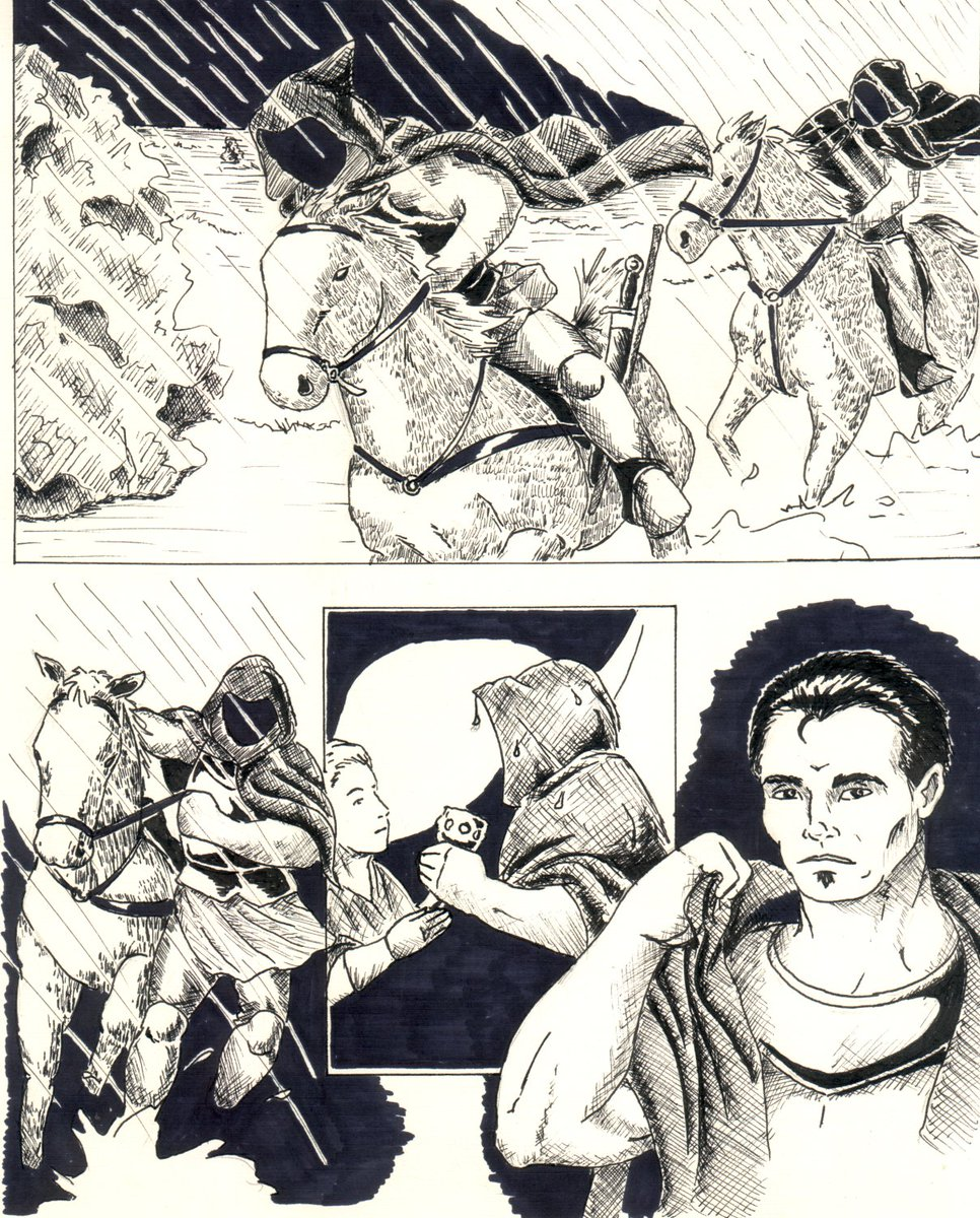 Random old artwork of the day: some sequential art for a project that fell through...  #fantasyart #Pencildrawing #handdrawn #mixedmedia #micronpens #sequentialart #onlinecomic #commissionsopenpic.twitter.com/Yu4s6MoTPt