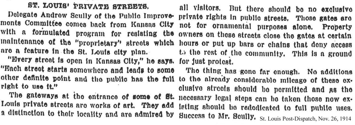 """In 1914, the St. Louis Post-Dispatch condemned private streets in the city, calling them """"ground for just protest."""""""