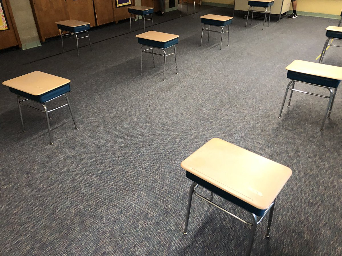 This is what desks 6 feet and 3 feet apart look like...