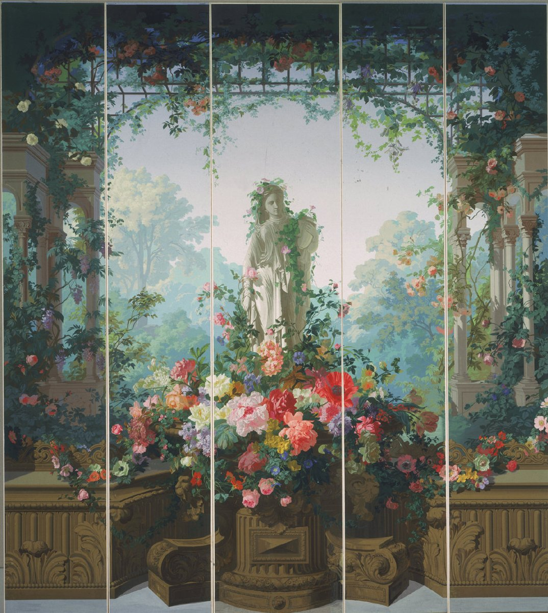 """Garden of Armida wallpaper, 1854. Philadelphia Museum of Art."" Édouard Muller (born on 26 September 1823 in Mulhouse, France; died on 29 December 1876 in Nogent-sur-Marne, France) was a French painter and designer."