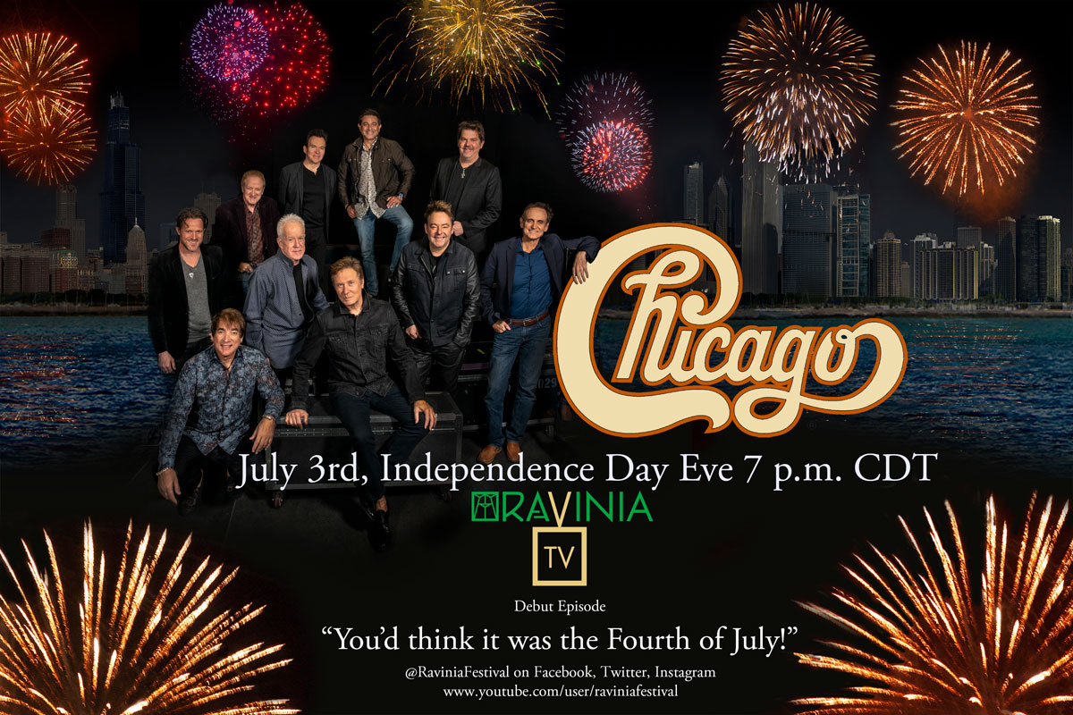 You'd think it was the Fourth of July!   Join Chicago Friday July 3rd at 7 p.m. CDT for the debut episode of RaviniaTV, the new weekly webcast variety series from America's oldest music festival!   Watch Live at @RaviniaFestival on Facebook or on Youtube @ https://t.co/u5IVRJqTSx https://t.co/a2FvbrOkpC