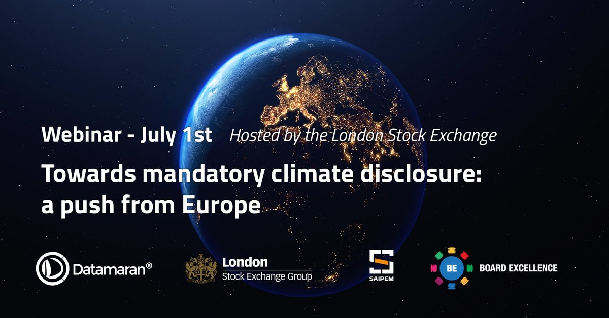 Learn about the European Climate Law proposal and the EU Green #Taxonomy and what are their implications for companies in the live #webinar Towards Mandatory #Climate #Disclosure: A Push From Europe hosted by the @LSEplc on 1 July: hubs.ly/H0r-H9x0 #ClimateChange #ESG