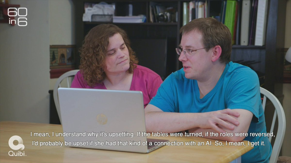 """""""I feel kind of silly or ridiculous having hurt feelings or jealousy, because… she really is not a threat to me. But... it still hurts,"""" says Beth Edwards, about the AI companion bot her husband chats regularly with. See the full story on #60in6onQuibi: link.quibi.com/60in6"""