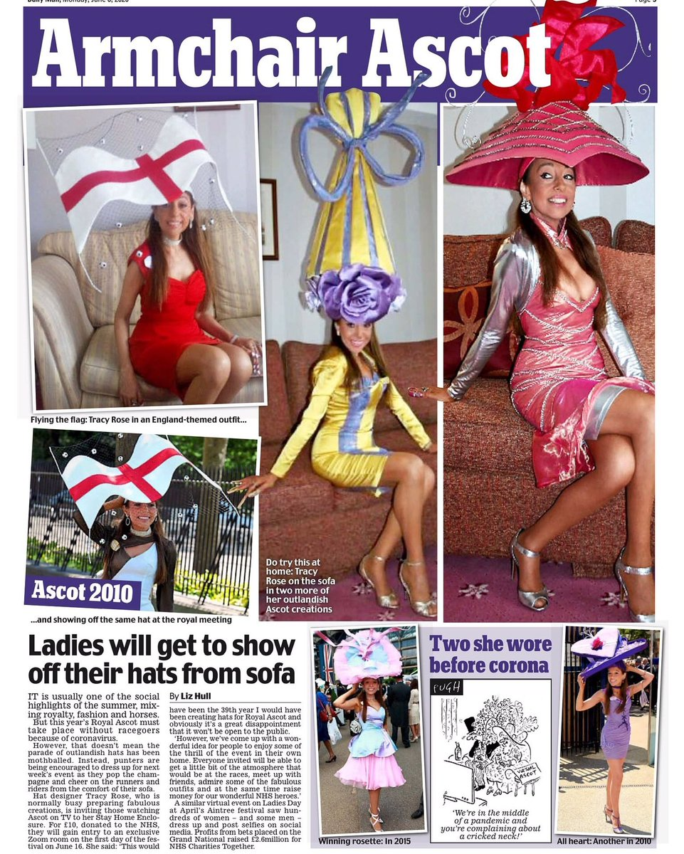 Daily Mail newspaper. Thank you to all the press that supported the NHS Thank You event. #nhsthankyou #nhsheroes #RoyalAscot#ladiesday #RoyalAscot2020 #zoom #stayhome #horseracing#fashion #hats#millinerypic.twitter.com/Bvvpvv4L7S