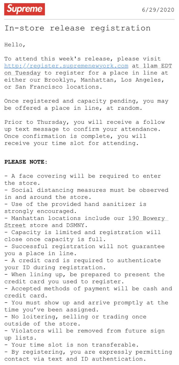 Supreme Week 18 In Store Registration Details
