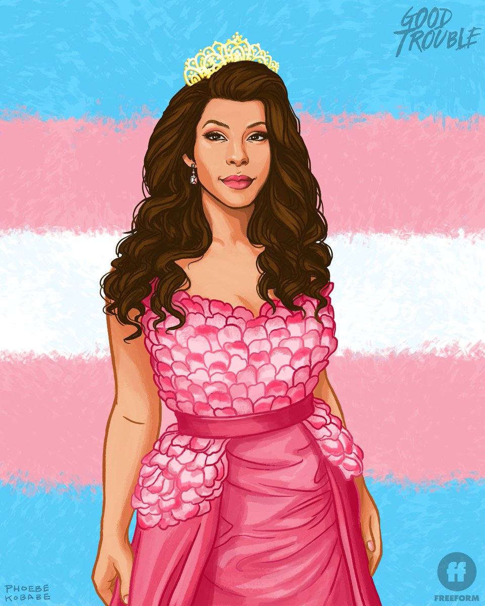 We can't stop looking at this incredible illustration of our Jazmin. A strong, confident and powerful woman, Jazmin is the true definition of someone who is unapologetically themselves. #ProgressIsPride  ___________ Dress designed by Good Trouble's Costume Designer, Deena Appel.<br>http://pic.twitter.com/Xm5xEfGPim