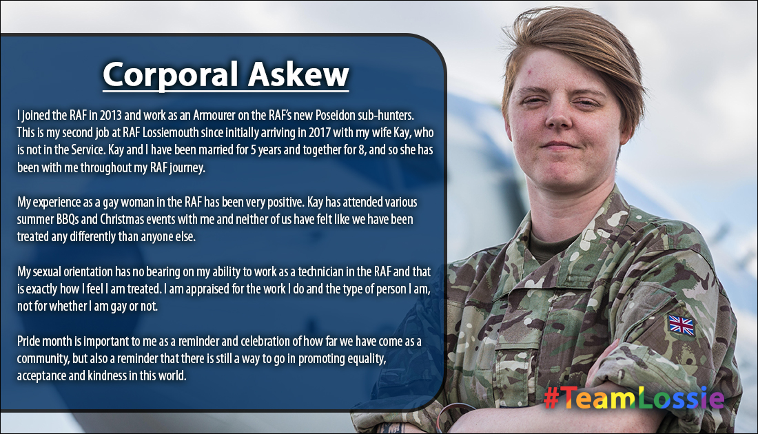 """Cpl Askew works with our brand new fleet of @P8A_PoseidonRAF as a Weapons Technician!  """"Pride month is important to me as a celebration of how far we have come as a community, but also a reminder that there is still a way to go in promoting equality, acceptance & kindness.""""  6/8 https://t.co/PDnGaCVdA4"""