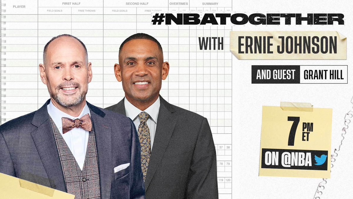 #NBATogether with Ernie Johnson (@TurnerSportsEJ) continues tonight at 7:00 PM ET on @NBA with 7x NBA All-Star Grant Hill (@realgranthill33). #NBAVoices https://t.co/ffzdIdItwb