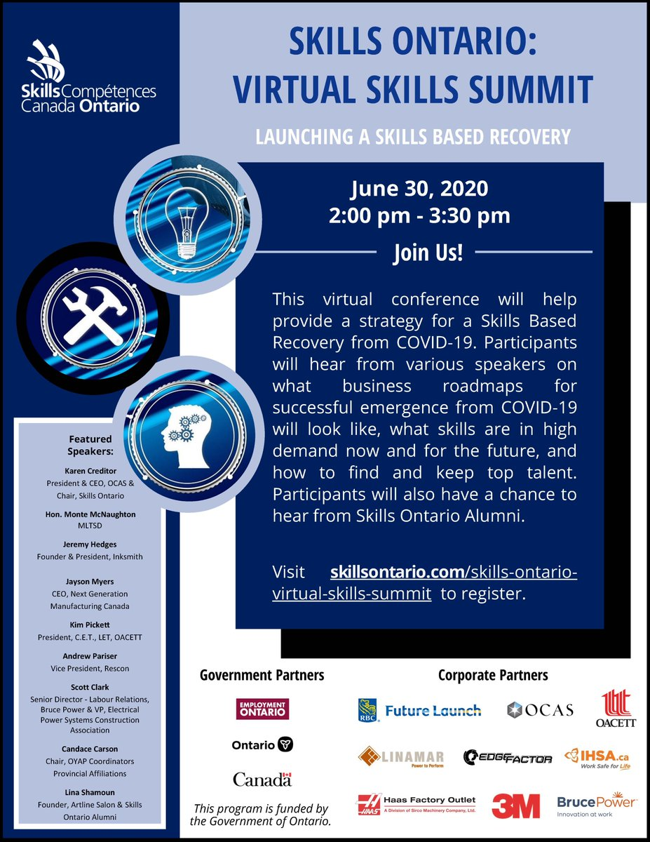 Join us TOMORROW at 2:00 pm for the free Skills Ontario: Virtual Skills Summit. Industry experts will discuss what business roadmaps in a post COVID-19 world will look like, as well as how to find and keep top talent for a thriving workplace. Register at skillsontario.com/skills-ontario….