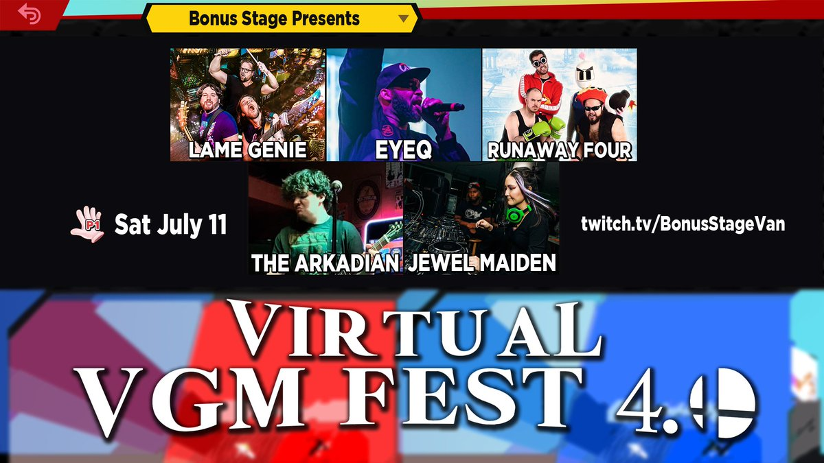 In two weeks we go live with our fourth edition of Virtual VGM Fest! Hard to believe this is happening every month! With @LameGenieVGM, @MusicEyeQ, @TheRunawayFour, @TheArkadianVGRB and @JewelMaiden RSVP: bit.ly/3dLZoI1 #BonusStage #VGM #livemusic #virtualconcert