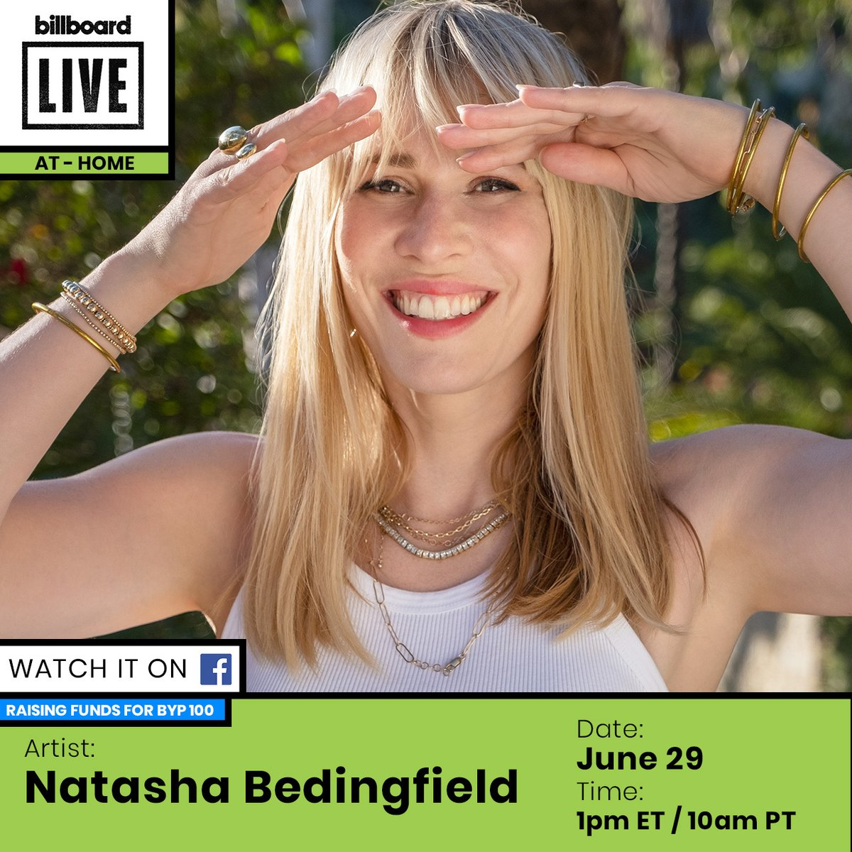 .@natashabdnfield is performing for #BillboardLive At-Home & raising money for @byp100!  Tune in to the session here: https://t.co/hDzIjKid4f https://t.co/u60oQqyoqb