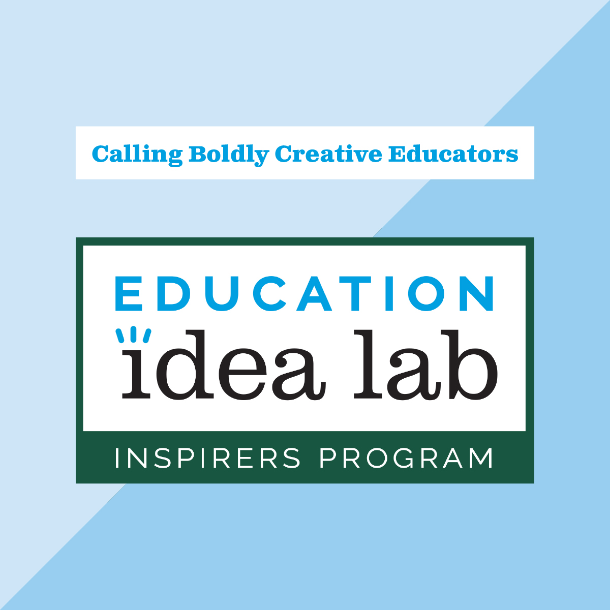 Announcing the Education Idea Lab's Inspirers Program: an opportunity for educators to learn from experienced mentors @WendyOstroff @Ulcca @balancedteacher, and for all of us to learn from and be inspired by educators on their journeys. https://t.co/draIHMhsQq https://t.co/mQyNPQhOFT