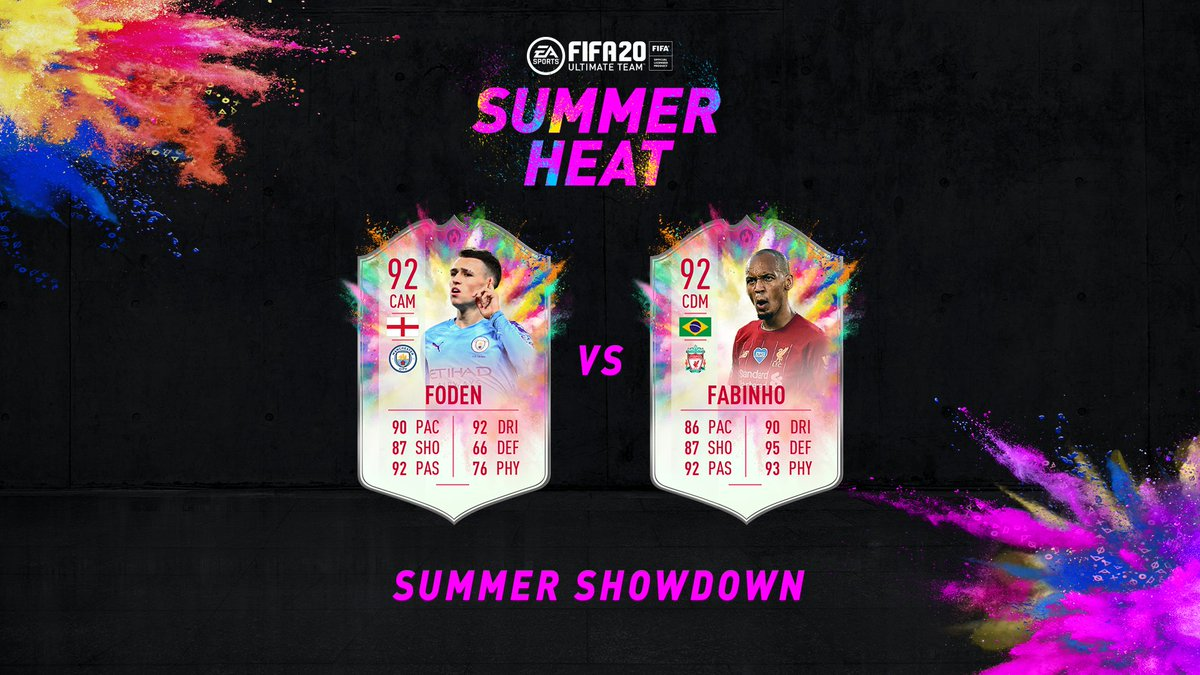 The next #SummerHeat☀️🔥 Summer Showdown is here ‼️ Squad Building Challenges in #FUT20 for @LFCs Fabinho and @ManCitys Phil Foden are now live until Matchday. The winning teams player item will get a +3 OVR boost (+1 to both in the event of a draw) 🙌