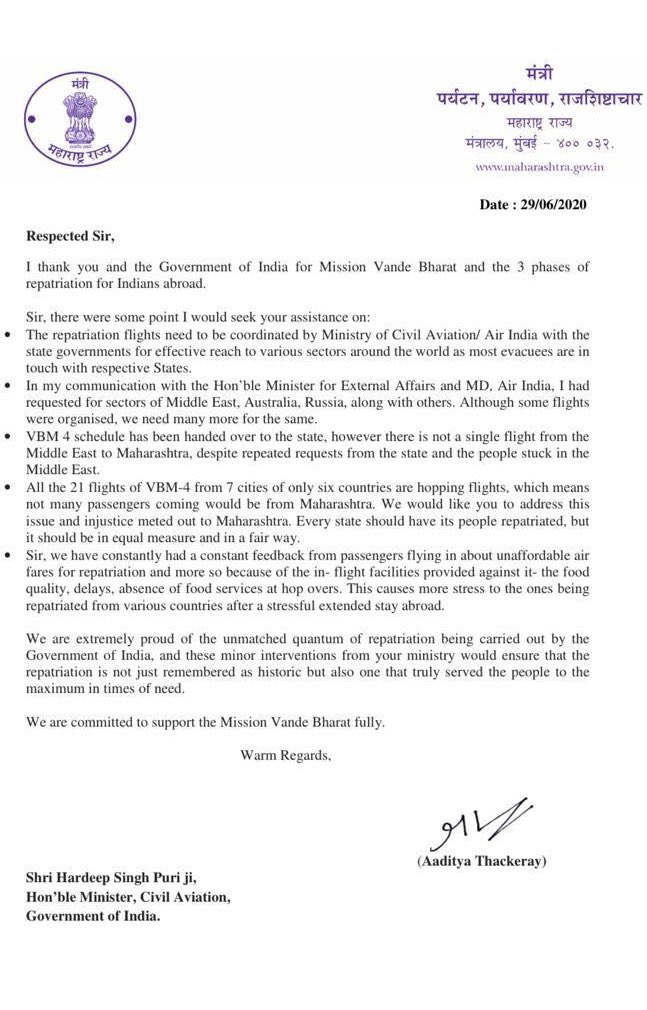 My letter to Minister for Civil Aviation today. We need to have more sectors added for repatriation and minor details that need to be looked into by the ministry to assist people stuck abroad. https://t.co/ABxKHbD3c6