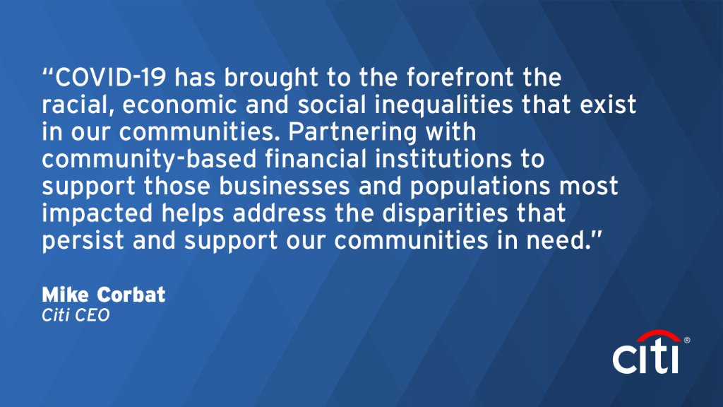 #Citi and Citi FDN have committed more than $100MM to date in support of #COVID19 relief & economic recovery. New efforts are aiding communities of color that have been disproportionally impacted, including expanded support for CDFIs in the U.S. More here: https://t.co/y2QTeiSPTW https://t.co/MC7o7EjhA5