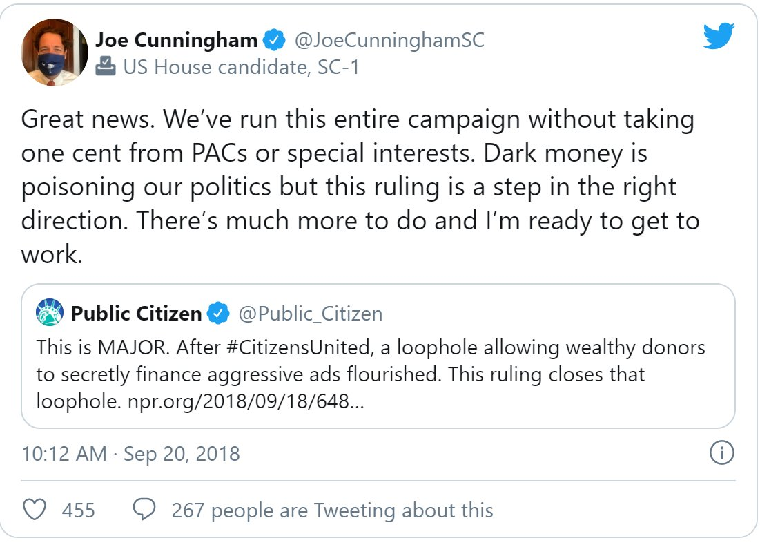 .@JoeCunninghamSC must denounce the disgusting dark money ad that politicizes COVID-19 and demand 314 Action stay out of #SC01 Anything less will expose him as a shameless fraud who will do anything to get reelected. nrcc.org/2020/06/29/cun… #SC01