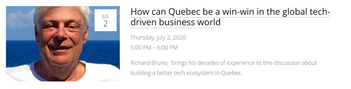 Join the discussion with Richard Bruno our barista on Thursday July 2nd.   Sharing form his decades of experience including: CTO @Philips, CEO x 3, Partner @inovia, Managing Director @mcgillu, Richard will talk about the future of tech in Quebec.  https://t.co/s9lNNzHIUA https://t.co/yKcLzpWkgt