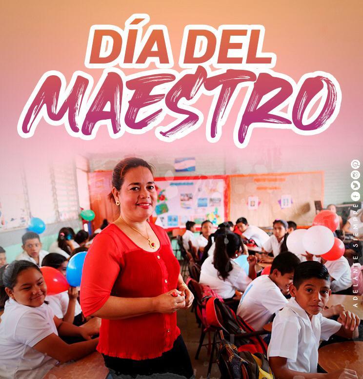 #Nicaragua Festeja el día del Maestro. Muchas felicidades a cada maestro q instruye, guía y transmite sus conocimientos a sus alumnos. #NicaraguaQuierePaz. https://t.co/TLRcG4Fk8M