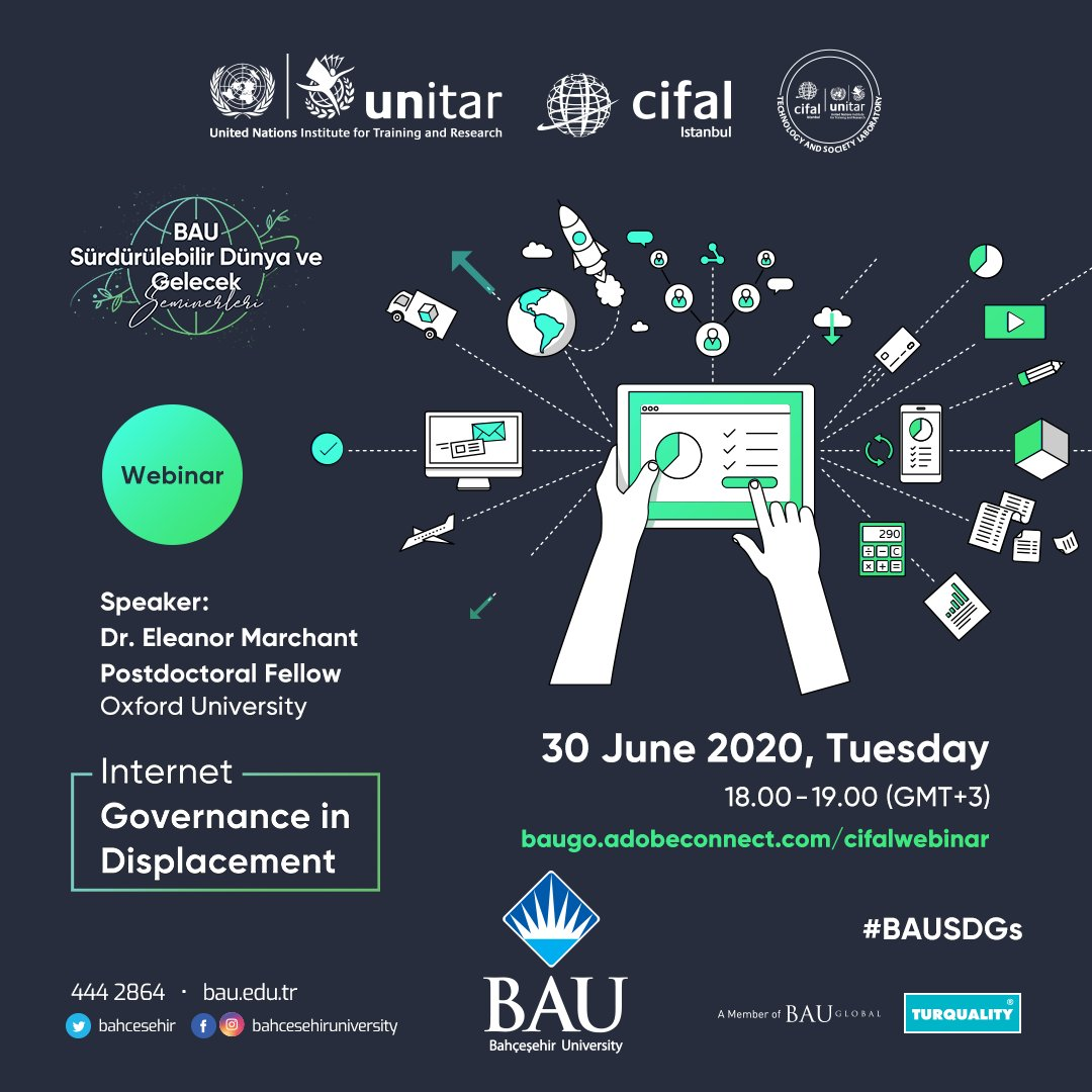 Tomorrow @ermarchant will present us her work on Internet Governance in Displacement @CIFALlstanbul @Bahcesehir - Looking forward to it! Join us at 4 PM (UK) / 6 PM (IST). https://t.co/BU3GeA1bmD