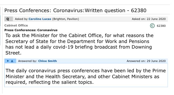 Wow. Despite Universal Credit being in demand as never before, and the looming unemployment crisis - Cabinet Office is suggesting the DWP brief wasnt a salient topic over the course of *92* daily press briefings.