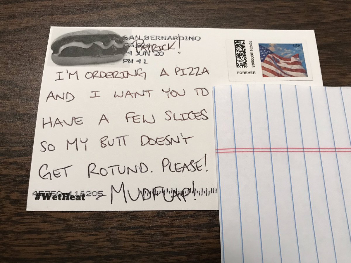 Hey, @MarylandMudflap I got my postcard! Thanks, I'll be right over to help with the pizza.