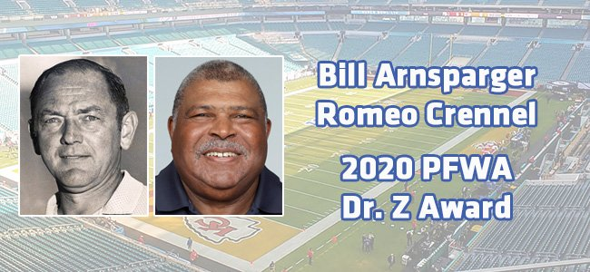 """The full press release on the late Bill Arnsparger and @HoustonTexans associate head coach Romeo Crennel receiving the PFWA 2020 Paul """"Dr. Z"""" Zimmerman Award can be found here: https://t.co/GYGjK03yLQ https://t.co/EiUdOT5GAN"""