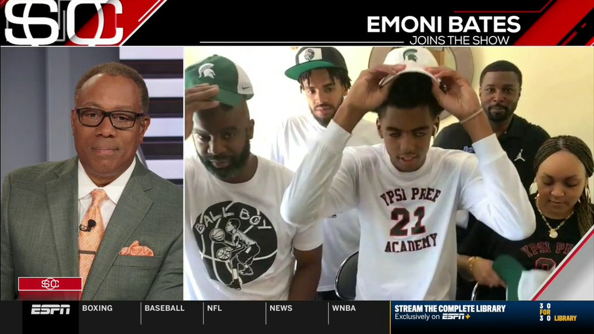 """""""As I do know right now, I will be committing to Michigan State University.""""  Emoni Bates, ESPN's No. 1-ranked player in the class of 2022, announced on SportsCenter that he will be heading to East Lansing. https://t.co/WdrG7R5tpc"""
