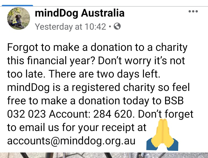 Its not too late...😉 To donate... So others can be helped by dogs like me 🙏🏼 Last day of our financial year💰 #EOFY #Aus #TaxTime #MentalHealth #ausbiz #Donate #TaxDeductable 👌🏼 #CharityTuesday #COVID19Aus #TwitterPhilanthropy #Sydney pic.twitter.com/w4zrjbCHEl