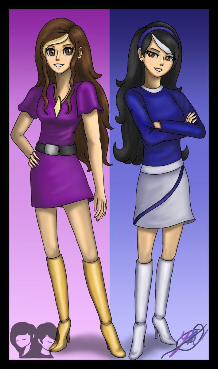 Monica and Erica DeLais (2020)  Meet Monica and Erica, two Welsh-French sisters that make up the logo in my pfp.   #digitalart #mycharacters pic.twitter.com/FpfMF2YQmz
